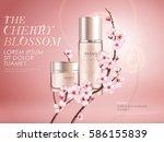 elegant cherry blossom cosmetic ... | Shutterstock .eps vector #586155839