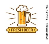 fresh light beer glass with... | Shutterstock .eps vector #586159751