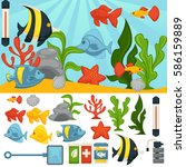aquarium with tropical fishes... | Shutterstock .eps vector #586159889