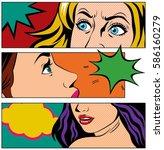 close up woman face in pop art... | Shutterstock .eps vector #586160279
