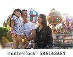 family holiday vacation... | Shutterstock . vector #586163681