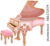 illustration of old fortepiano... | Shutterstock .eps vector #586172579