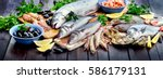 seafood. healthy diet eating... | Shutterstock . vector #586179131