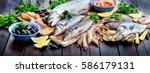 Seafood. Healthy Diet Eating...