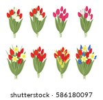 set of eight vector  bouquets... | Shutterstock .eps vector #586180097