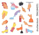 vector collection with cleaning ... | Shutterstock .eps vector #586184051