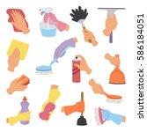 vector woman hands with... | Shutterstock .eps vector #586184051