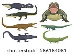 cartoon green crocodile danger... | Shutterstock .eps vector #586184081