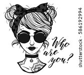 vector illustration. retro girl ...   Shutterstock .eps vector #586192994