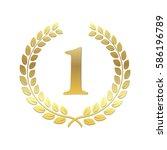 golden laurel wreath. award for ... | Shutterstock .eps vector #586196789