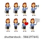 female manager cartoon | Shutterstock .eps vector #586197641