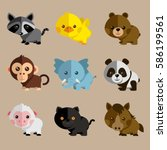 new funny animal vector set | Shutterstock .eps vector #586199561