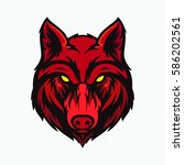 wolf head angry face logo with... | Shutterstock .eps vector #586202561