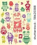 funny characters set. vector... | Shutterstock .eps vector #58620388