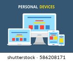 modern electronic devices.flat... | Shutterstock .eps vector #586208171