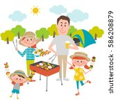 illustration of family enjoying ... | Shutterstock .eps vector #586208879