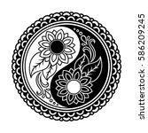 vector henna tatoo mandala. yin ... | Shutterstock .eps vector #586209245
