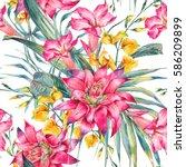 watercolor vintage floral...   Shutterstock . vector #586209899
