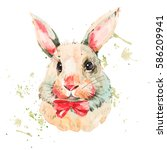 cute white rabbit with red bow. ... | Shutterstock . vector #586209941