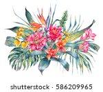 watercolor vintage floral... | Shutterstock . vector #586209965