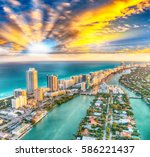 aerial view of miami beach... | Shutterstock . vector #586221437