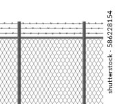 metal fence with barbed wire.... | Shutterstock .eps vector #586228154