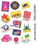 world country travel landmark... | Shutterstock . vector #586228484