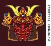 samurai head with dragon skull... | Shutterstock .eps vector #586230815