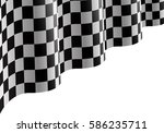 checkered flag flying on white... | Shutterstock .eps vector #586235711