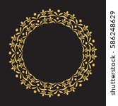 gold round frame with floral... | Shutterstock .eps vector #586248629
