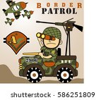a soldier watching the border... | Shutterstock .eps vector #586251809