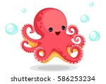 cute red octopus cartoon