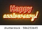 happy anniversary neon sign on... | Shutterstock . vector #586253645