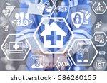 house medical cross medicine... | Shutterstock . vector #586260155