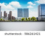 empty square and floor with sky | Shutterstock . vector #586261421