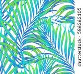 seamless tropical pattern.... | Shutterstock .eps vector #586262105