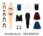 paper doll with clothes for... | Shutterstock .eps vector #586283024