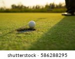 golfer long putting golf ball... | Shutterstock . vector #586288295