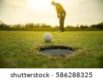 pro golf long putting golf ball ... | Shutterstock . vector #586288325