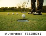 pro golfer training drill skill ... | Shutterstock . vector #586288361