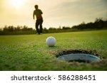 pro golf action cheer after... | Shutterstock . vector #586288451
