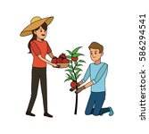 people with plant icon image  | Shutterstock .eps vector #586294541