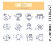 doodle vector line icons of car ... | Shutterstock .eps vector #586301027
