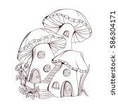 Coloring Book  Mushroom Houses...