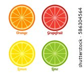 fresh fruits set.  colorful... | Shutterstock .eps vector #586304564