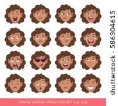 set of female facial emotions.... | Shutterstock .eps vector #586304615