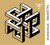 impossible geometry symbols... | Shutterstock .eps vector #586305791