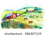 Watercolor Rural Landscape....