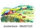 Watercolor Rural Landscape....
