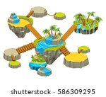 isometric levels game islands... | Shutterstock .eps vector #586309295